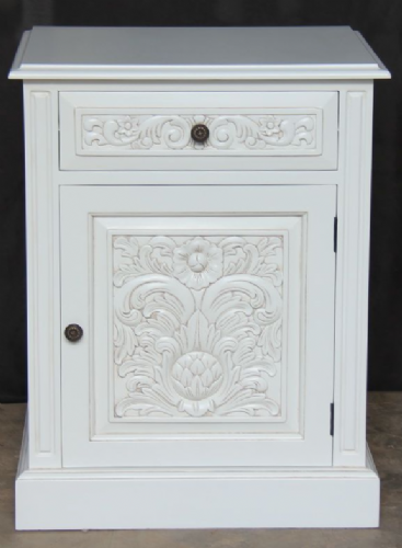 Bedside with Carved Front in Antique White
